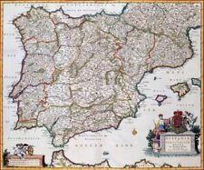 Reproduction carte ancienne - Espagne et Protugal (España y Portugal) 1681