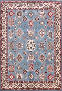Vegetable Dye Wool Super Kazak Geometric Oriental Area Rug Hand-Knotted 8x10