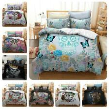Floral Skull Quilt Doona Duvet Covers Set Supersoft Double/Queen/King Size Bed