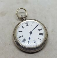Antique solid silver pocket watch c1900 working