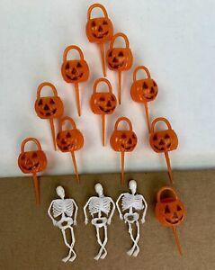 Vintage Halloween Cake Cupcake Plastic Decorations Pumpkin Skeleton Lot Of 14