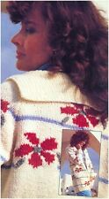 Ladies' Chunky Flower Motifs Striped Jacket with Sailor Collar Knitting Pattern