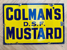 More details for vintage enamel colman's dsf mustard one sided advertising sign