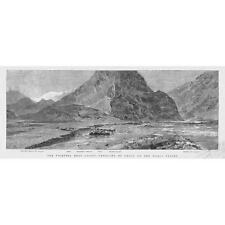 INDIA Panorama of Chalt on the Hunza Valley - Antique Print 1891
