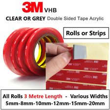 3M VHB DOUBLE SIDED TAPE ROLL VERY STRONG SELF ADHESIVE STICKY TAPE CLEAR & GREY
