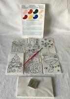 Vintage Niños Manualidades 6 Navidad Saludos Paint 'N Glitta Pinturas Cepillo &