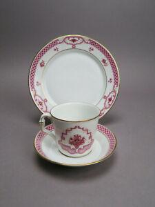 Höchst Heinrich Porzellan Classic Athene Purpur 3tlg.Kaffeegedeck Tasse Teller