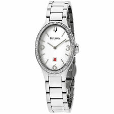 Bulova Women's 96R192 Quartz Diamond Accents White Dial Silver-Tone 25mm Watch