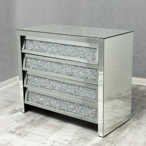 Modern Bedroom Furniture Crush Diamond Glass Crushed Glass 4 Drawer Bedside