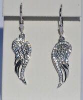 Echt 925 Sterling Silber Ohrringe Flügel Zirkonia crystal Engel Nr 9B