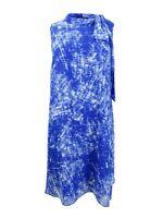 DKNY Women's Printed Tie-Neck Dress