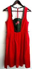 Damen Trachten Dirndl ärmellos rot grün geblümt m. Stickerei Gr. 40 v. Outfit