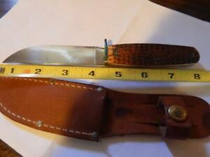 Vintage CASE Bone Handle Hunting Knife w/Sheath! 4.25 Inch Blade, Superb!