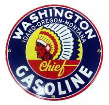 Washington Chief Gasoline Porcelain Advertising Sign
