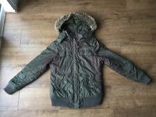 Roxy Ladies Khaki Green Furry Hooded Jacket - Size Small