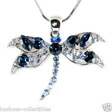w Swarovski Crystal ~~Navy Blue DRAGONFLY~ Bridal Wedding Pendant Chain Necklace