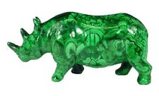 "BUTW Hand Carved Zaire African 6.5"" Malachite Rhino Lapidary 0283P ab"