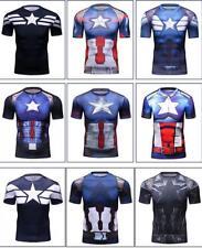 Captain America Printed Man outdoor sport T-shirt short Sleeve Cosplay M-2XL