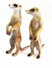 Miniature Porcelain Hand Painted Meerkat (Set/2) Standing figurines