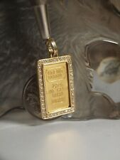 CREDIT SUISSE 2.5G FINE GOLD 999.9 BAR SET IN 750 GOLD PENDANT WITH DIAMOND !