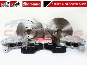FOR SUBARU IMPREZA WRX FRONT DRILLED & GROOVED BRAKE DISCS BREMBO PADS CALIPERS