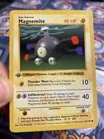1st Edition Pokemon Magnemite Base Set 53/102 Shadowless Card 1999 Wotc