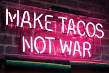 "New Make Tacos Not War Pink Bar Pub Wall Decor Acrylic Neon Light Sign 24""x20"""