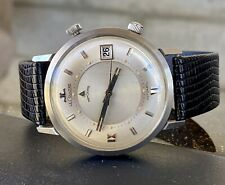 Vintage 60s LeCoultre Memodate Automatic Alarm Stainless Steel Wristwatch Watch