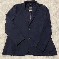 Magaschoni Man Mens Size Large Blue Textured 2 Button Jacket / Blazer NWT
