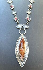 HMunion Laguna Agate Garnet Sterling Silver Long Necklace $635