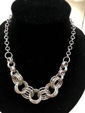 Boho Ethnic Aztec Egyptian Cleo Statement Necklace SilverTone Ring Tribal Hippy