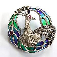 Esmalte Art Nouveau plique un Colgante de Pavo Real Broche 925 Jour Marcasita plata.