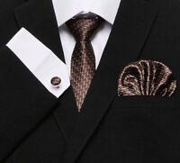 Set Cravate 7cm,Marron,Design,Bouton Manchette,Mouchoir,100%Soie,Jacquard,ModeFR