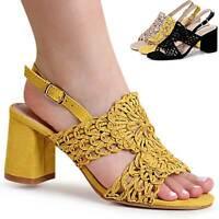 Damenschuhe Riemchen Sandaletten Velours Sandalen Pumps High Heels Peep Toe