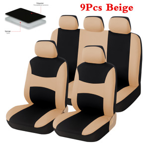 9pcs Car Seat Covers Protectors Four Season Universal Front Rear Seat Cushions