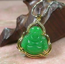 Gold Plate Green JADE Pendant Buddha God  Necklace Diamond Imitation 278159 US