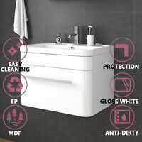 Bathroom Vanity Cabinet Storage Artificial Stone Glossy White Square Wall Hung