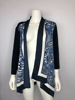 Chico's Navy Blue Travelers Scarf Front Cardigan Sweater Chicos Sz 2 ~12/14 NWT