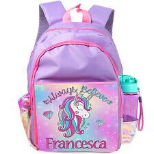 Personalised UNICORN School Bag Girls Backpack Childrens Kids Pink Rucksack KK49