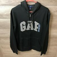 GAP Mens Medium Black Pullover Fleece Sweatshirt Full Zip NEW