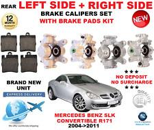 Para Mercedes Benz SLK R171 2004 - > 2011 Trasero Izquierda + Derecha Calibradores de Freno + Almohadillas