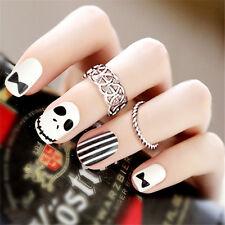 24pcs Unique Skull Design False Nails French Full Nail Art Fake Fingernail+Box