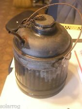 Antique 1 GAL CAN GALVANIZED KEROSENE OIL FILLER CAN - RIBBED sides DOME TOP