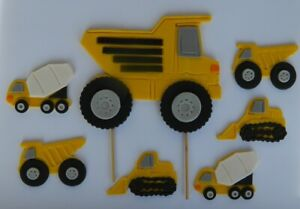 13 edible BUILDING CONSTRUCTION TRUCK earth moving cake CUPCAKE TOPPER road SIGN