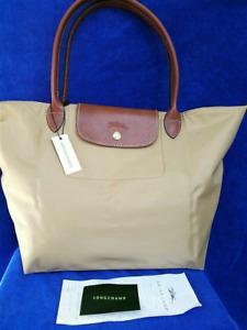 Auth New Longchamp New Le Pliage Nylon Tote Handbag Beige Large