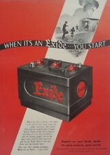 1948 Exide Car Battery Automotive Garage Vintage Decor Art Poster Print Ad