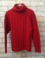 Ralph Lauren Neiman Marcus hand knit red wool turtleneck sweater women's size S