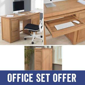 Crescent Solid Oak Office Furniture Large Desk & 3-Drawer Filing Cabinet Package