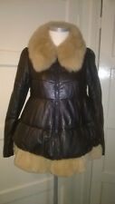 Leather & Fur Dolly Coat with Real  Fox-Fur Collar Small