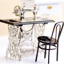 1 12 Vintage Dollhouse Sewing Machine Miniature Furniture Table Wood Metal Decor
